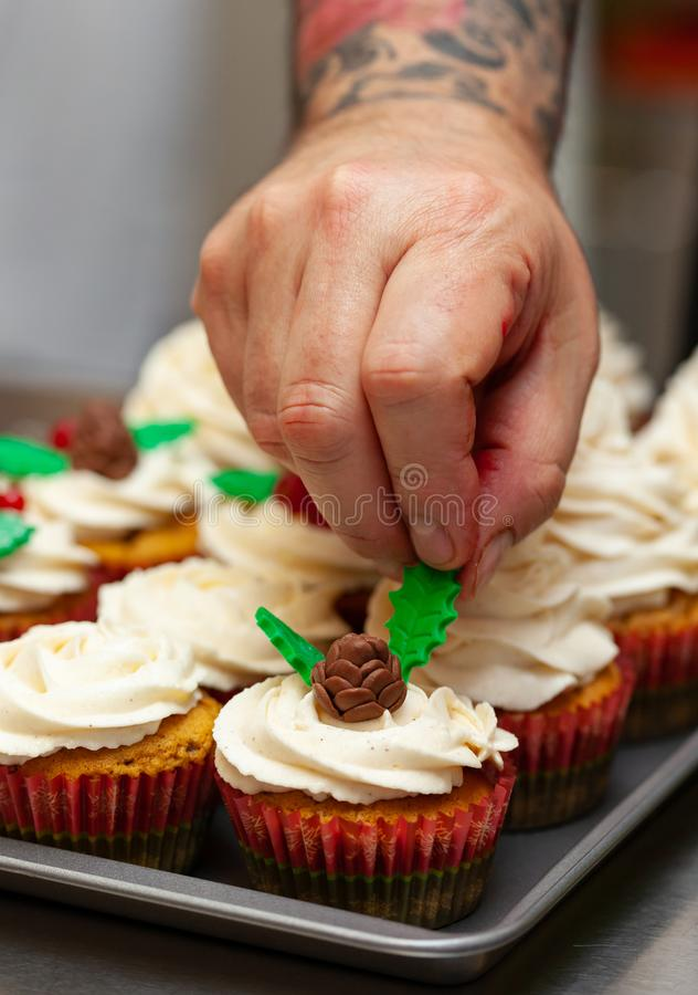 Gingerbread cupcake for christmas. Gingerbread cupcake or muffin with Christmas decoration royalty free stock images
