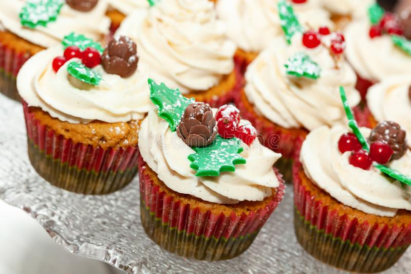 Gingerbread cupcake for christmas. Gingerbread cupcake or muffin with Christmas decoration royalty free stock image