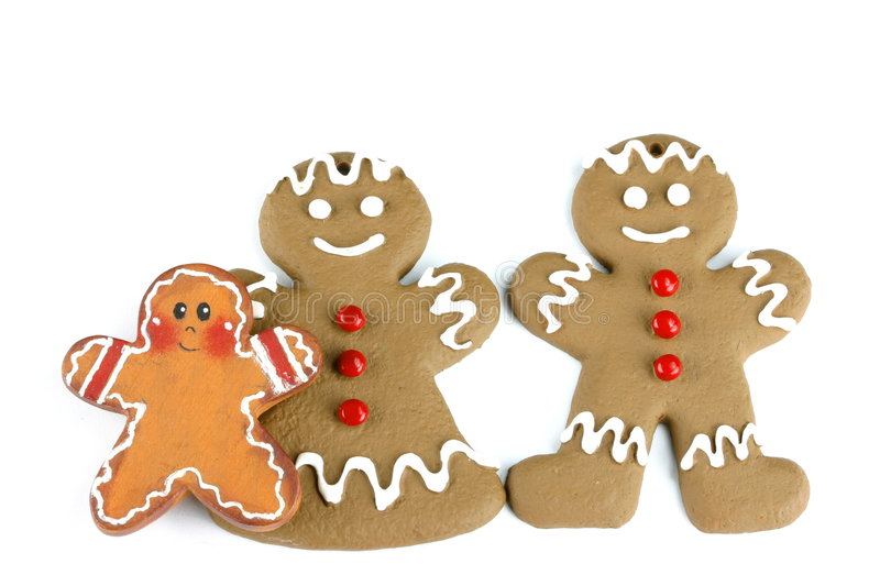 Gingerbread Family. Isolated on white space with room for text stock images