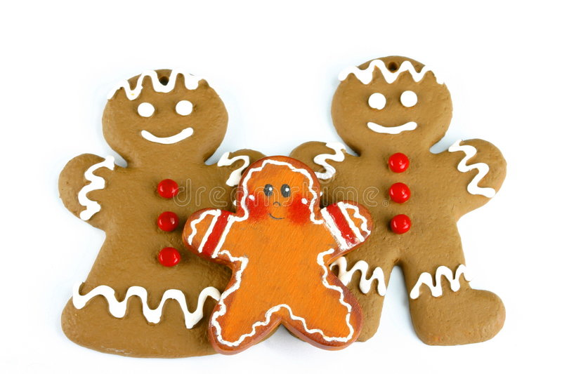 Gingerbread Family. Isolated on white space with room for text royalty free stock image