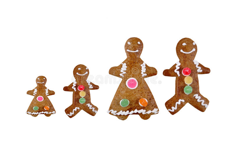 Gingerbread Family. A Gingerbread Family, isolated on white. Photographed in a studio royalty free stock photo