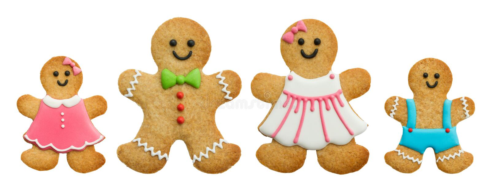 Gingerbread family. Isolated on white stock photos