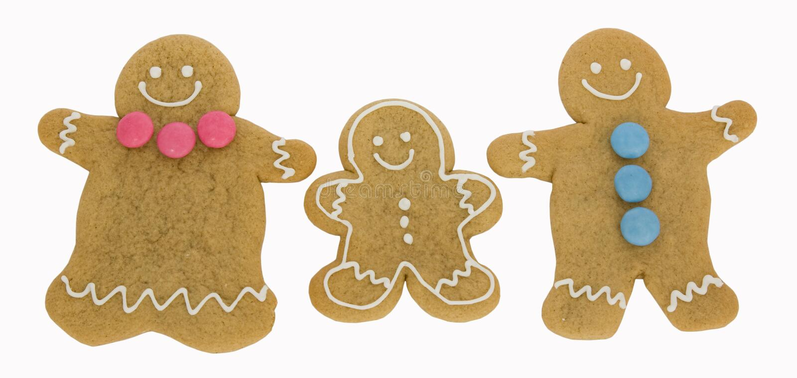 Gingerbread family. Isolated against a white background royalty free stock photography