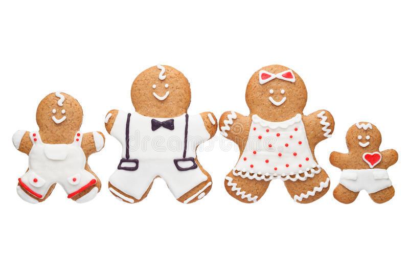 Gingerbread family. On white background royalty free stock images