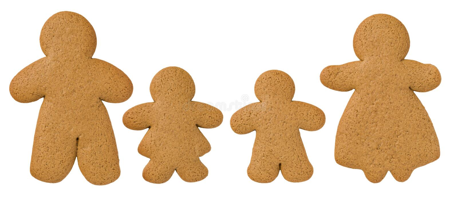 A gingerbread family. On a white background royalty free stock photo
