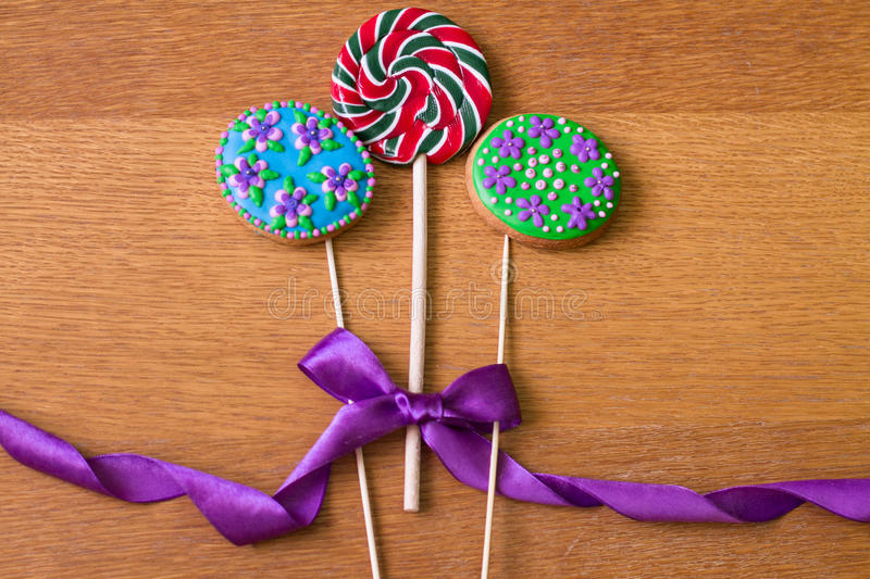 Gingerbread with flowers and lollipop stock image