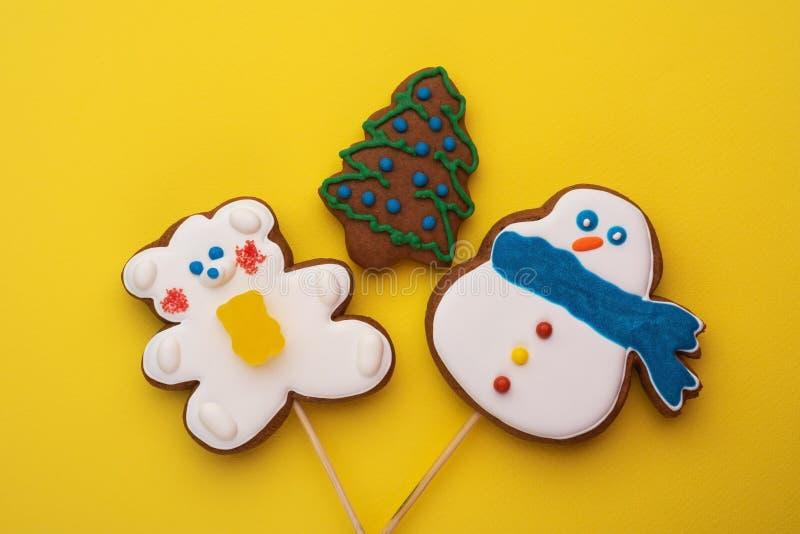 Snowman Bear and Christmas Tree royalty free stock image