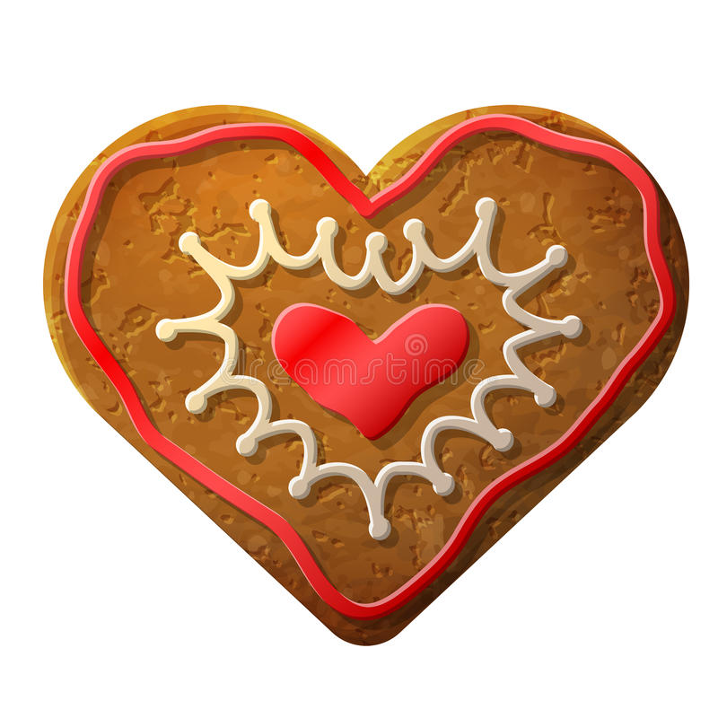 Gingerbread heart decorated colored icing stock illustration