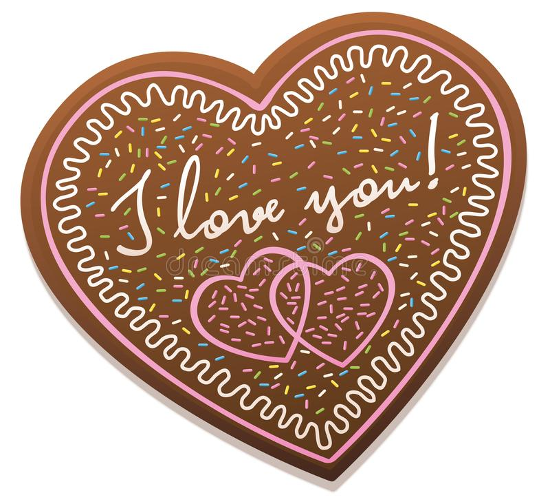 Gingerbread Heart I Love You royalty free illustration