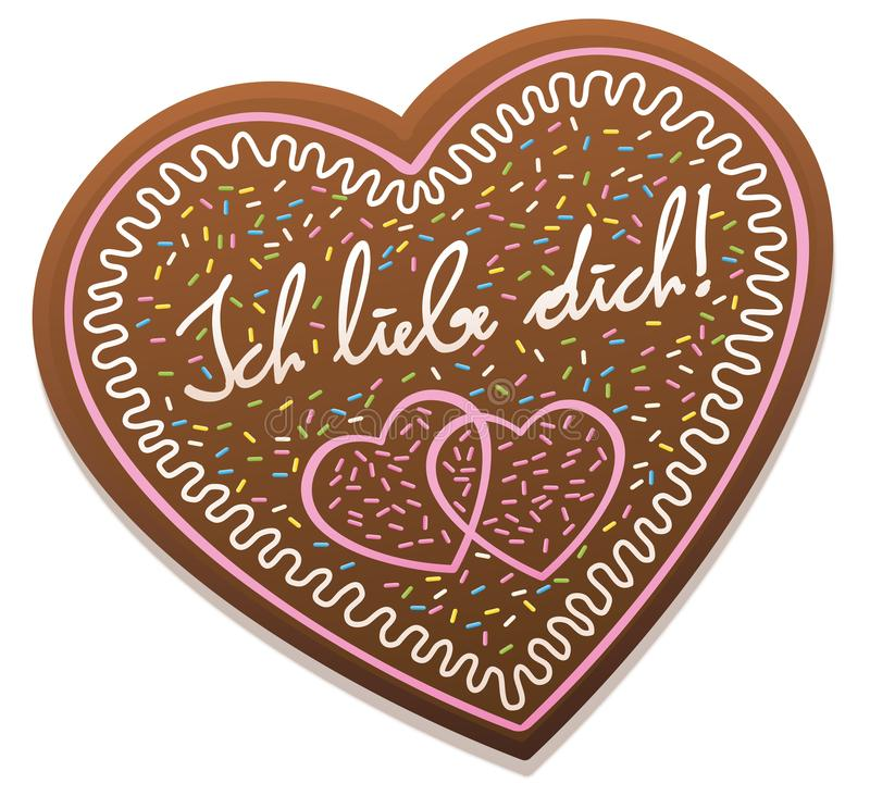 Gingerbread Heart Ich Liebe Dich. ICH LIEBE DICH - german for I love you - written on a typical bavarian gingerbread heart from original Oktoberfest in Munich royalty free illustration