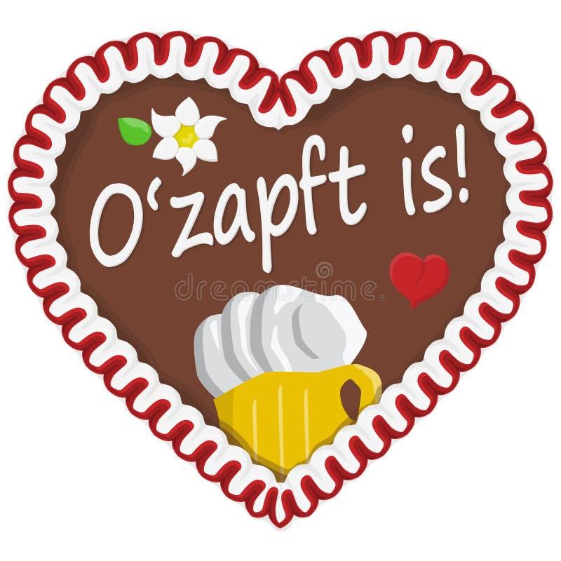 Gingerbread heart Oktoberfest 2019 2020. Illustrated gingerbread heart with text in german for Oktoberfest time 2019 2020 beer festival lettering ozapft royalty free illustration
