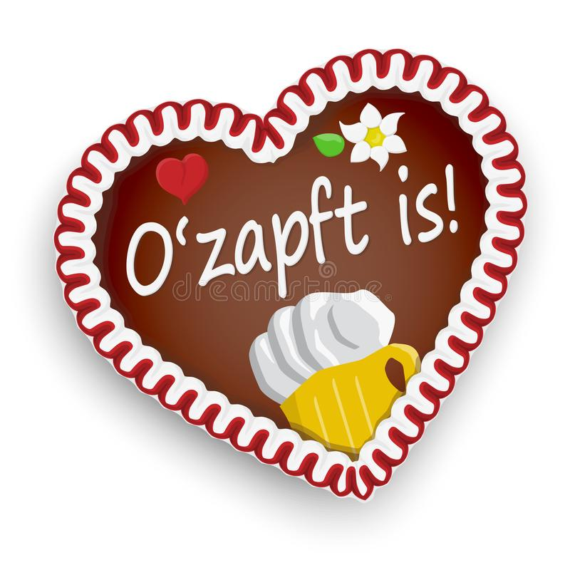Gingerbread heart Oktoberfest 2019 2020. Illustrated gingerbread heart with text It is tapped (in german) for Oktoberfest 2019 2020 time, beer royalty free illustration