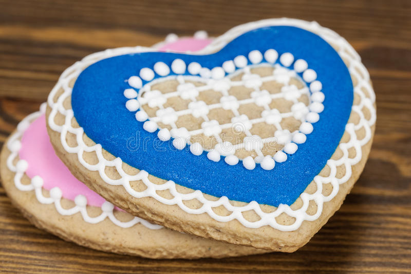 Gingerbread. Heart shape cookies royalty free stock image