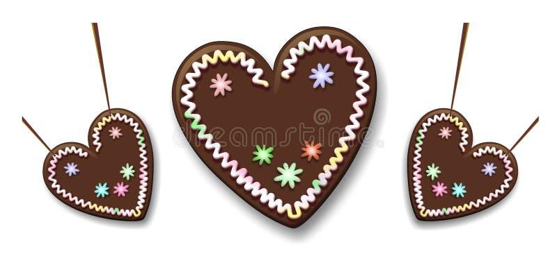 Gingerbread heart royalty free illustration