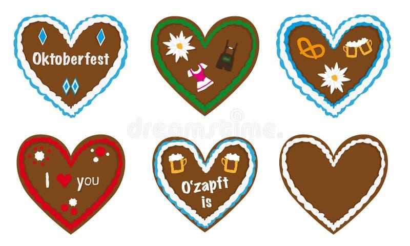 Gingerbread heart vector collection, bavarian oktoberfest gift,. Gingerbread heart vector collection, traditional bavarian octoberfest gift, different designs stock illustration