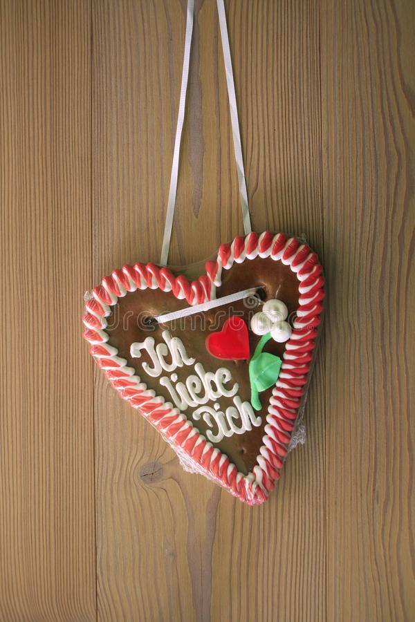 Download Gingerbread Heart With Wooden Background Stock Image - Image: 19993379