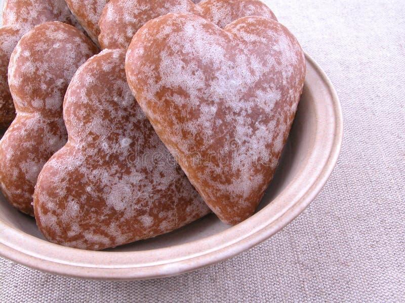 Gingerbread hearts royalty free stock photos