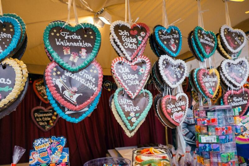 Gingerbread hearts on the Christmas market stock photo