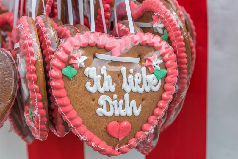 Gingerbread hearts at a folk festival with German words – I love you, Germany.  royalty free stock image