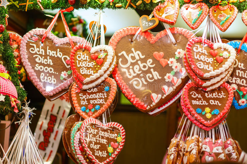 Gingerbread Hearts at Nuremberg Christmas Market. Gingerbread Hearts at German Christmas Market. Nuremberg, Munich, Fulda xmas market in Germany stock photo