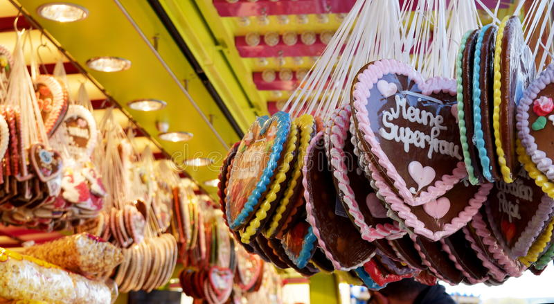 Gingerbread hearts at the oktoberfest, traditional German souvenir stock image