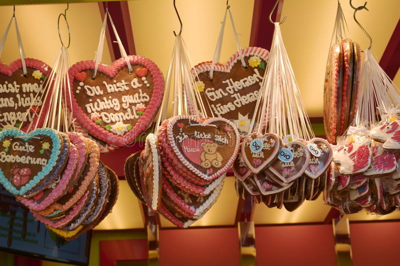 Gingerbread hearts at the oktoberfest, traditional German souvenir royalty free stock photography