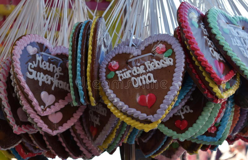 Gingerbread hearts at the oktoberfest, traditional German souvenir royalty free stock images