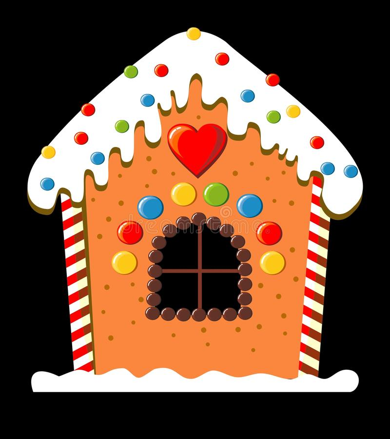 Gingerbread house. Decorated with chocolate, candy and frosting vector illustration