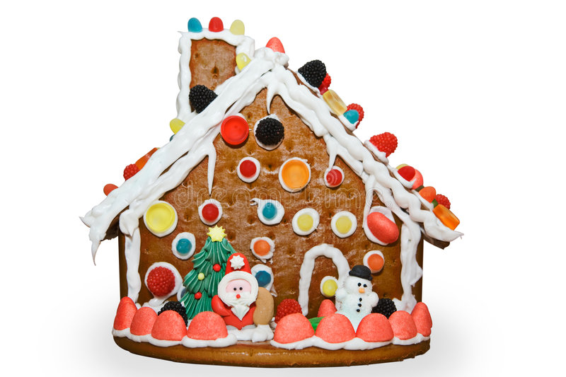 Gingerbread house. Siolated on white background with clipping path royalty free stock photos