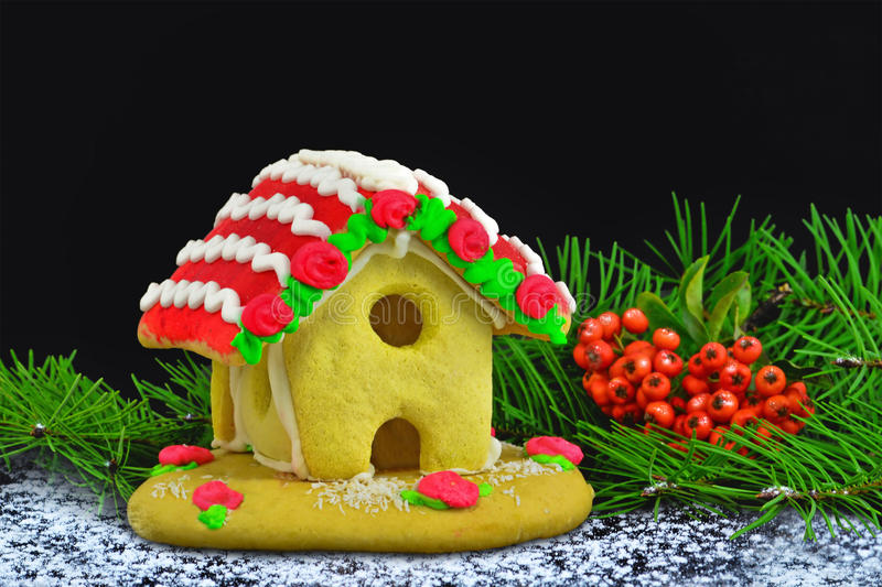 Gingerbread house Christmas background card on black royalty free stock photos