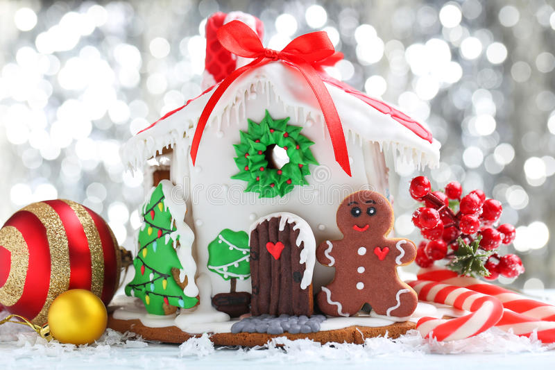 Gingerbread house. Christmas gingerbread house on lights background royalty free stock photography