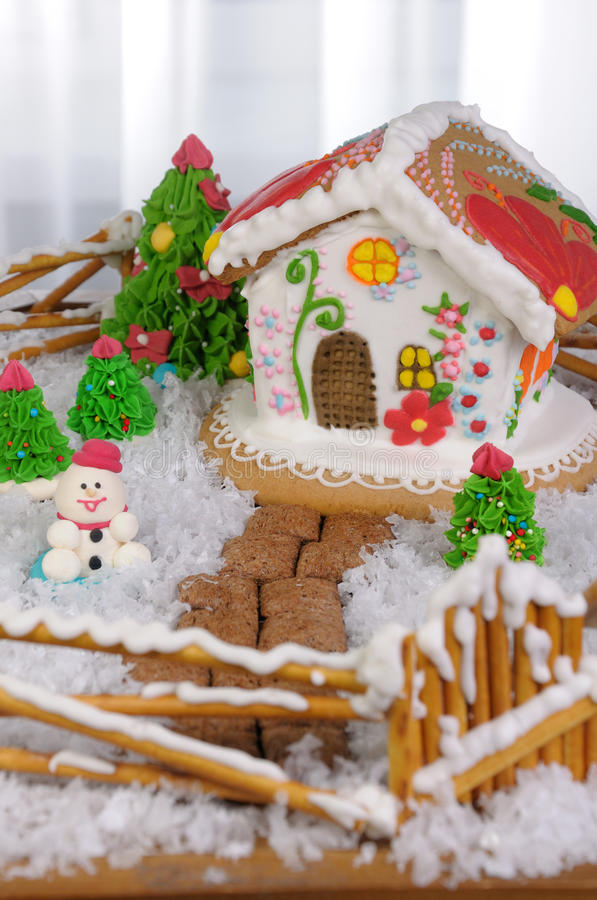 Gingerbread house. Courtyard with gingerbread houses painted in ethnic style stock images