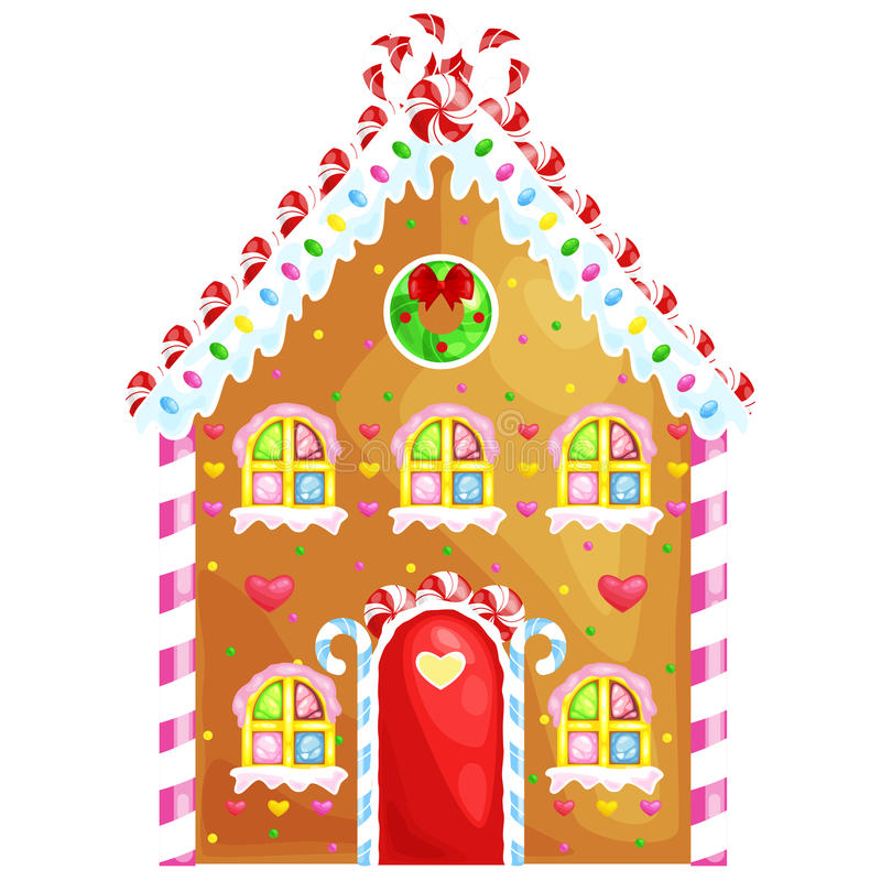 Gingerbread house decorated candy icing and sugar.christmas cookies, traditional winter holiday xmas homemade baked. Sweet food vector illustration royalty free illustration