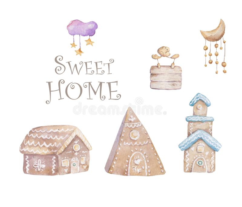 Gingerbread house. hand drawn gingerbread houses. Christmas cookies. Brown and white colors. Merry Christmas house Cartoon royalty free illustration