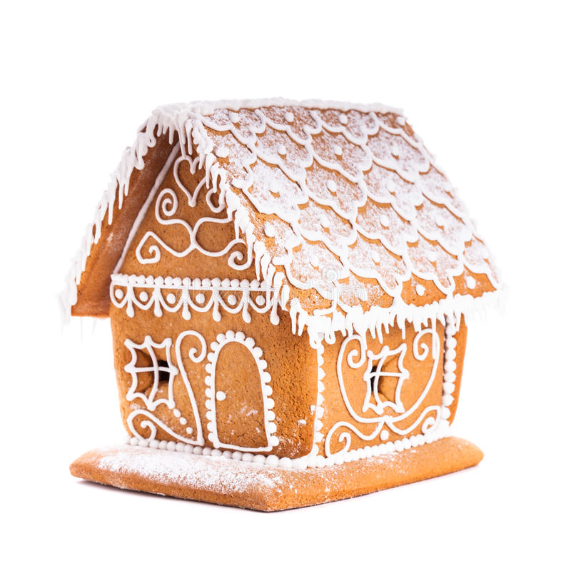 Gingerbread house isolated royalty free stock photo