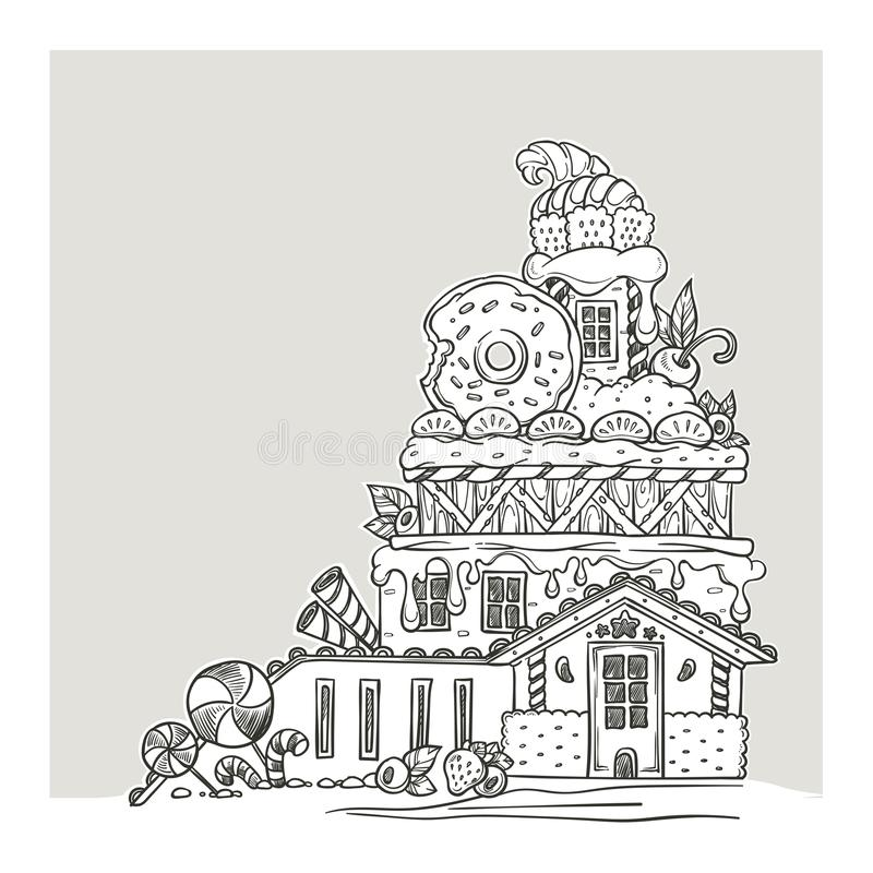 Gingerbread House, Lovely Cartoon Castle, Made From Sweets, Candy and Cookines, Page For Your Coloring Book royalty free illustration