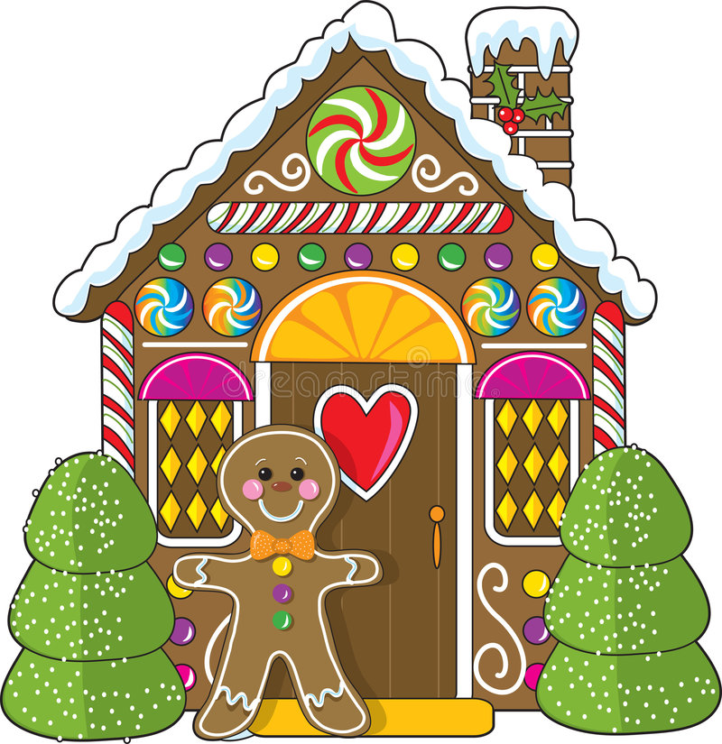 Gingerbread House and Man royalty free illustration