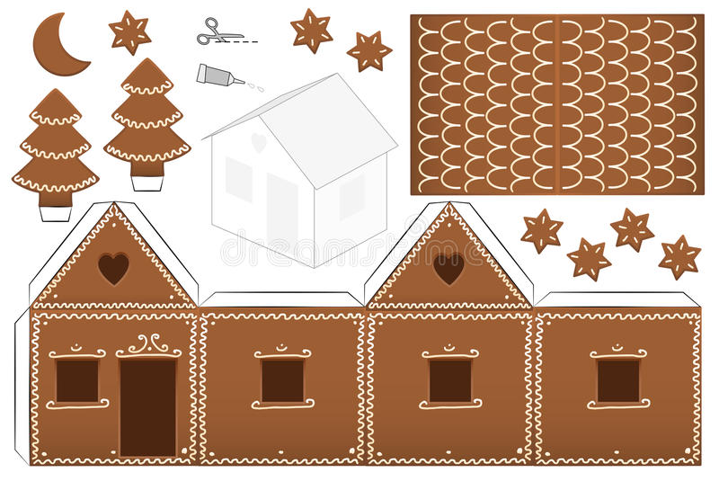 Gingerbread House Paper Model Stock Vector - Illustration ...