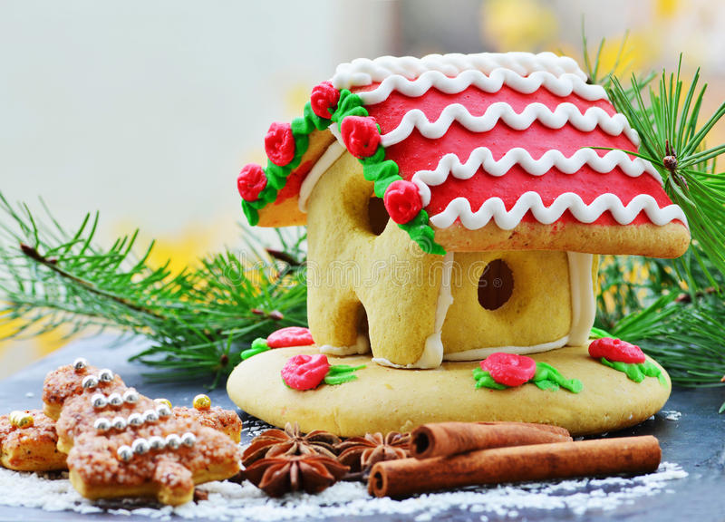 Gingerbread house. With spices and fir branches royalty free stock images