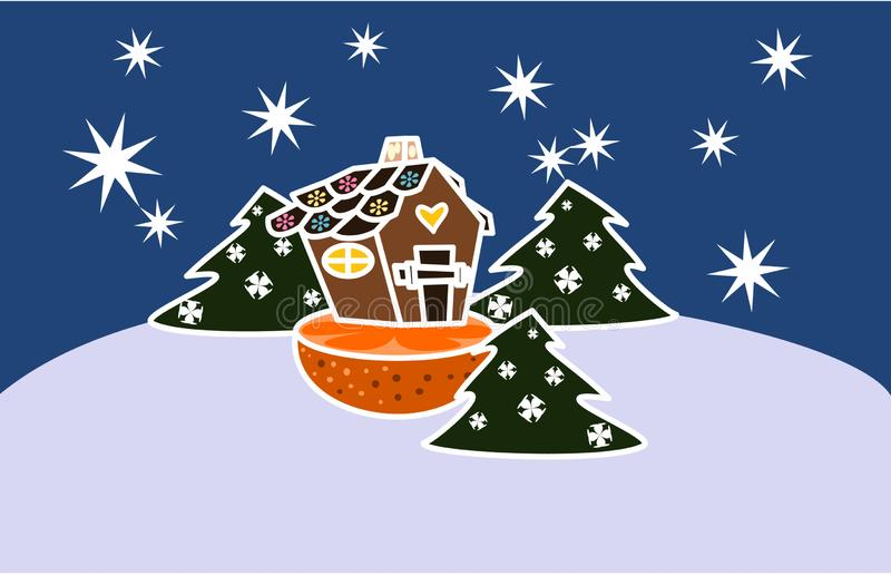 Gingerbread house, standing on a cut orange, in a snowy forest stock illustration
