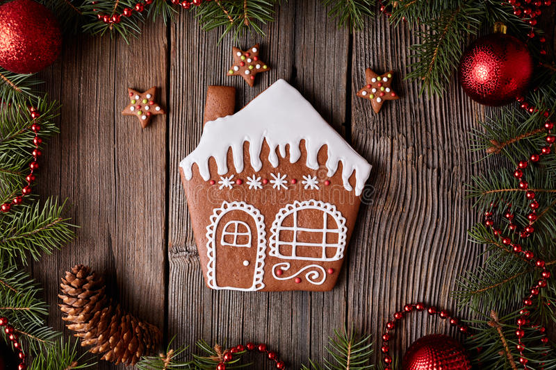 Gingerbread house with stars cookies christmas stock images