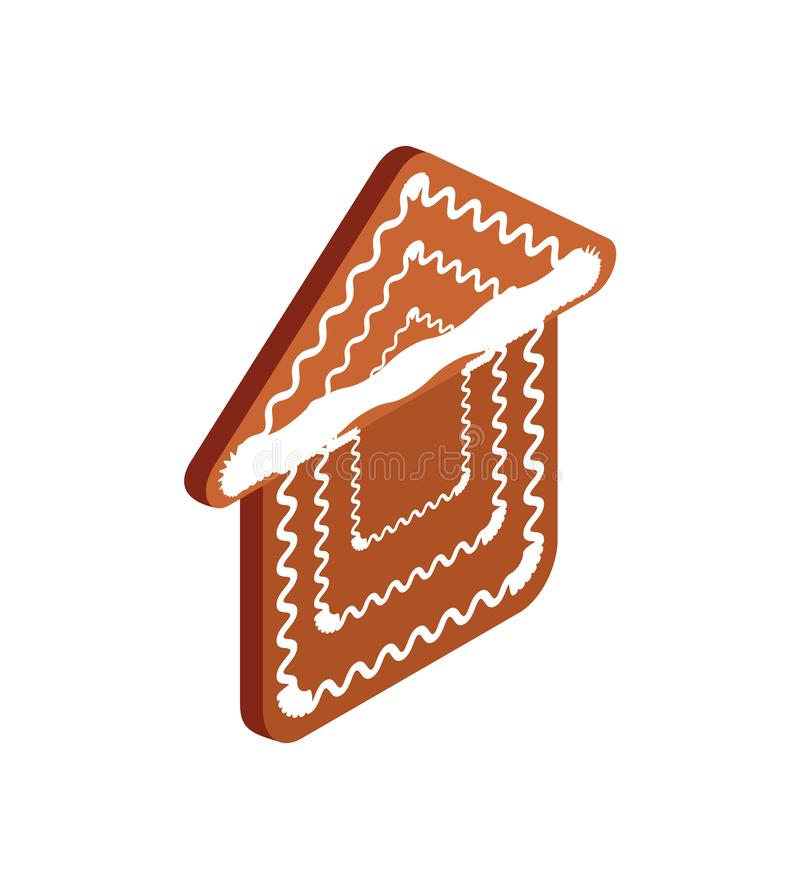 Gingerbread House Baked Cookie Vector Isolated. Gingerbread house vector baked cookie icon isolated on white. Traditional element for New Year and Christmas royalty free illustration