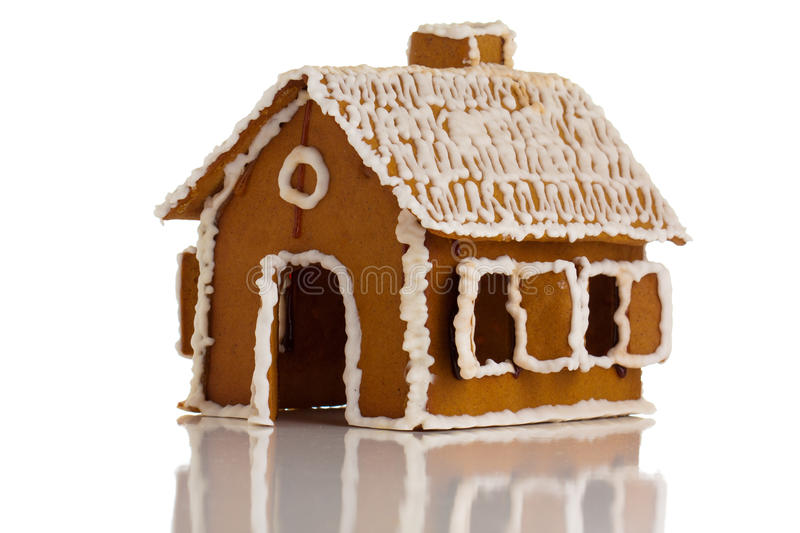 Download Gingerbread house on white stock photo. Image of structure - 18235740