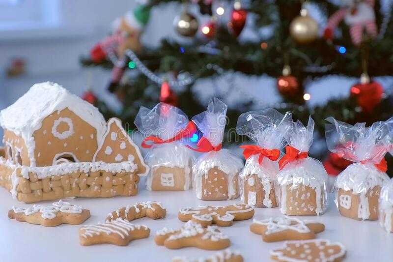 Gingerbread houses and cookies in package for Christmas on tree background. royalty free stock photography