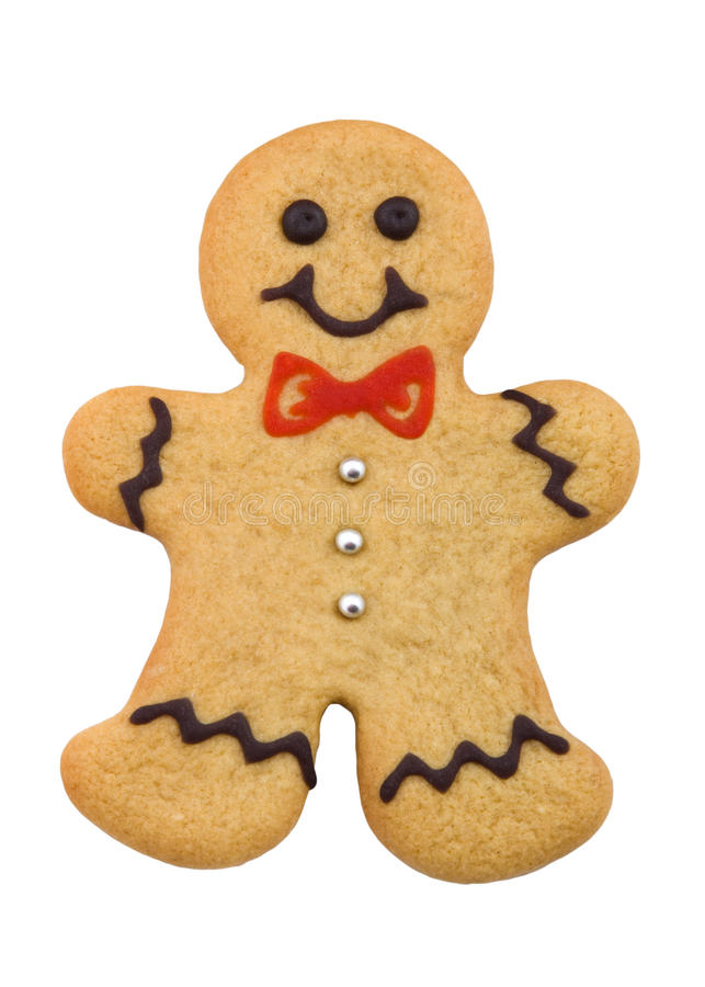 Gingerbread man. With bow tie and silver buttons stock photos