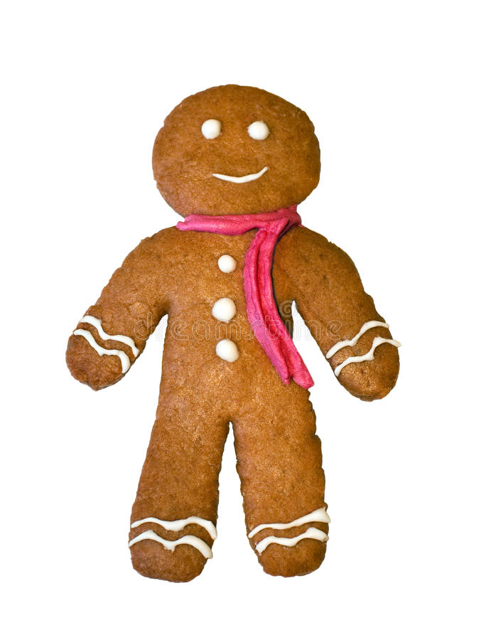 Gingerbread man. Isolated on white royalty free stock photos
