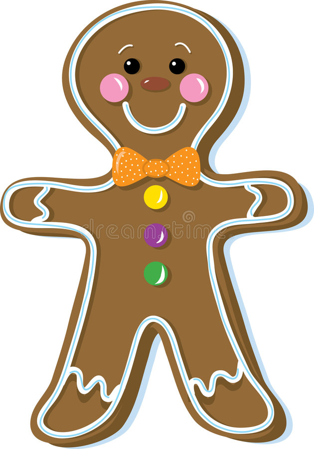 Gingerbread man. Gingerbread cookie decorated with candy and icing royalty free illustration