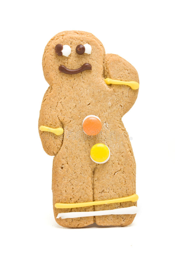 Gingerbread Man. From low perspective isolated against white background stock photography