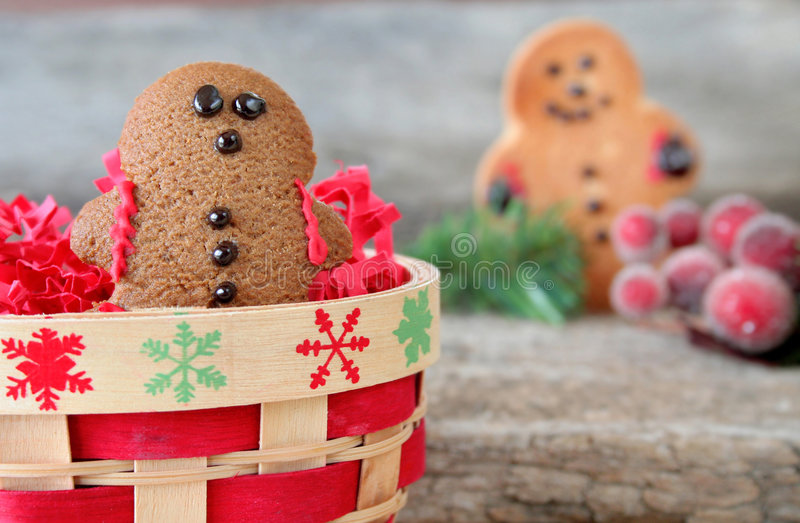 Gingerbread Man. In a basket with another in the background. Used a selective focus with a shallow depth of field royalty free stock photography