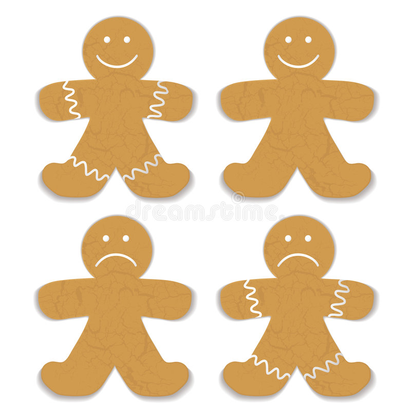 Gingerbread man. Illustrated gingerbread man with white frosting and smile variation stock illustration